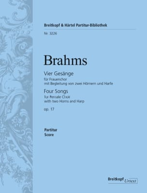 4 Gesänge Opus 17 BRAHMS Partition Chœur - laflutedepan