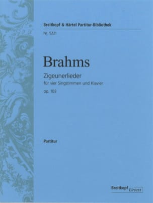 BRAHMS - Zigeunerlieder Opus 103 - Sheet Music - di-arezzo.co.uk