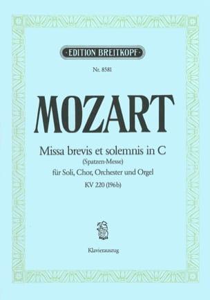MOZART - Missa Brevis in C KV 220 (196b) - Partition - di-arezzo.fr