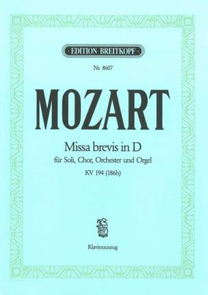 Missa Brevis in D KV 194 186h MOZART Partition Chœur - laflutedepan