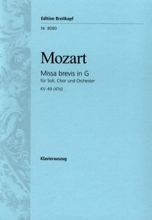 Missa Brevis in G KV 49 47d - MOZART - Partition - laflutedepan.com