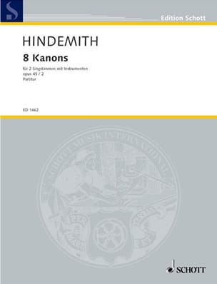 Paul Hindemith - 8 Canons, Opus 45-2 - Partition - di-arezzo.fr