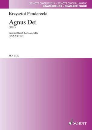 Agnus Dei - Krysztof Penderecki - Partition - Chœur - laflutedepan.com