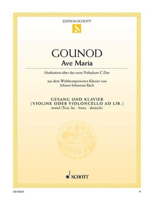 Charles Gounod - Ave Maria. Voix Moyenne - Partition - di-arezzo.fr