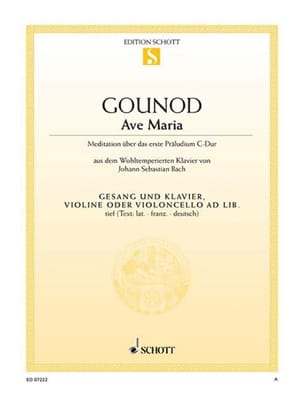 Charles Gounod - Ave Maria. Voix Grave - Partition - di-arezzo.fr