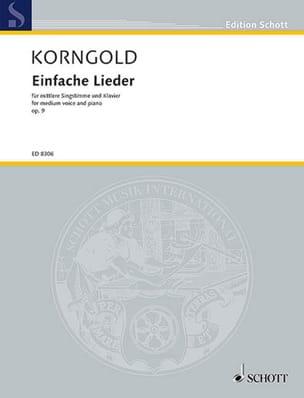 Einfache Lieder Opus 9 KORNGOLD Partition Mélodies - laflutedepan
