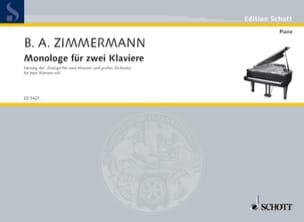 Monologue. 2 Pianos - Bernd Alois Zimmermann - laflutedepan.com