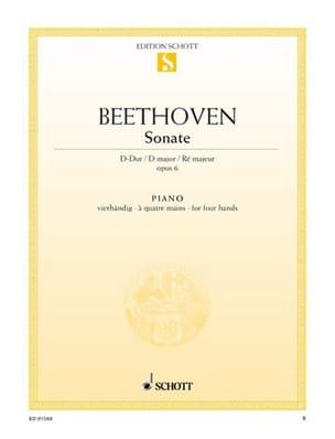 Sonate Ré Majeur Opus 6. 4 Mains BEETHOVEN Partition laflutedepan