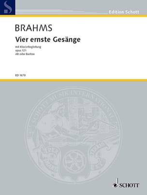 BRAHMS - 4 Ernste Gesänge Opus 121 - Partition - di-arezzo.com