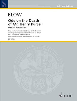 John Blow - Ode on the Death of Mr. Henry Purcell - Partition - di-arezzo.fr