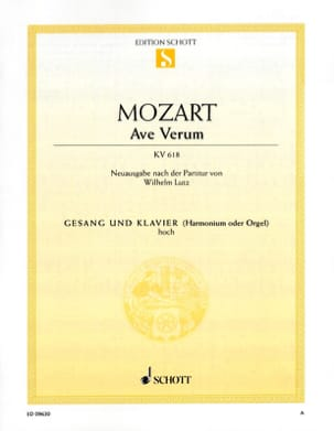 MOZART - Ave Verum K 618. High Voice - Partition - di-arezzo.co.uk