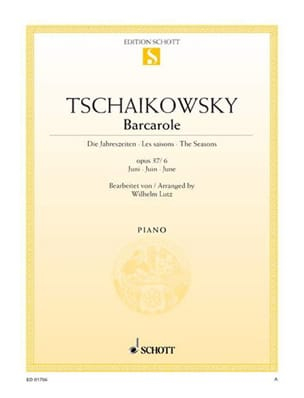 TCHAIKOWSKY - Barcarolle, Juni. Opus 37 2 - 6 - Partition - di-arezzo.fr