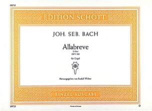 Johann Sebastian Bach - Allabreve Ré Majeur BWV 589 - Partition - di-arezzo.fr
