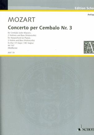 MOZART - Concerto pour piano n° 3 en mi bémol majeur, K 107 - Partition - di-arezzo.fr