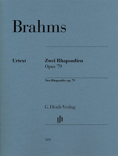 BRAHMS - 2 Rhapsodies op. 79 - Partition - di-arezzo.co.uk