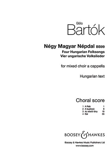 BARTOK - Negy Magyar Népdal BB99 - Partition - di-arezzo.co.uk
