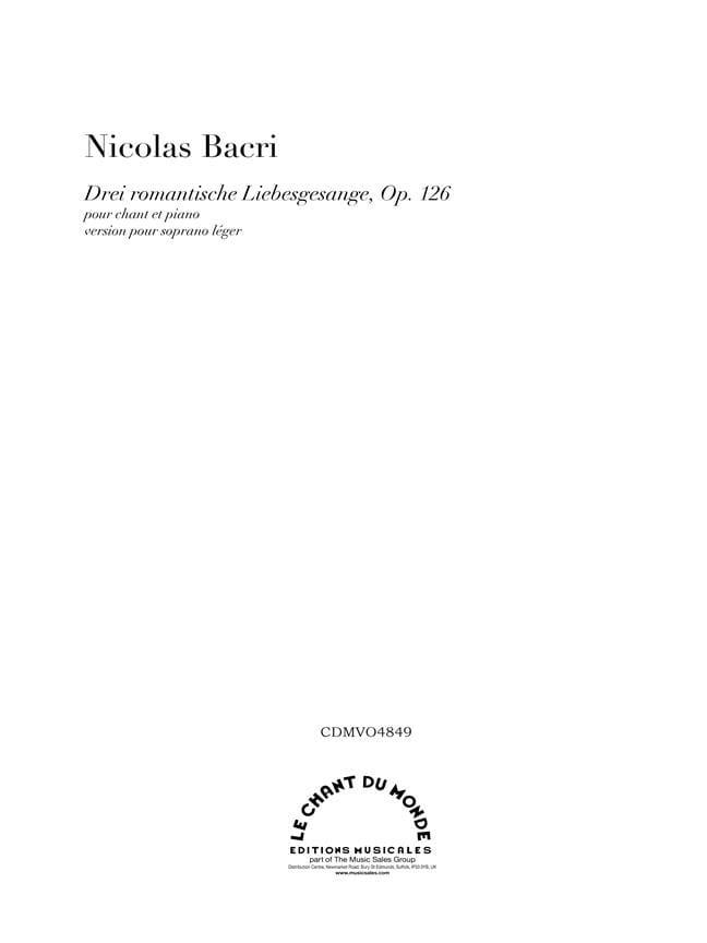 Nicolas Bacri - Drei romantische Liebesgesange Op. 126 n ° 2a. Version A - Partition - di-arezzo.com