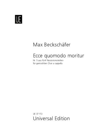Ecce quomodo moritur - Max Beckschäfer - Partition - laflutedepan.com