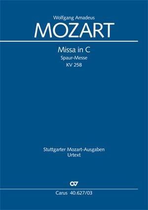 Missa Brevis In C K 258 Spaur Mess - MOZART - laflutedepan.com