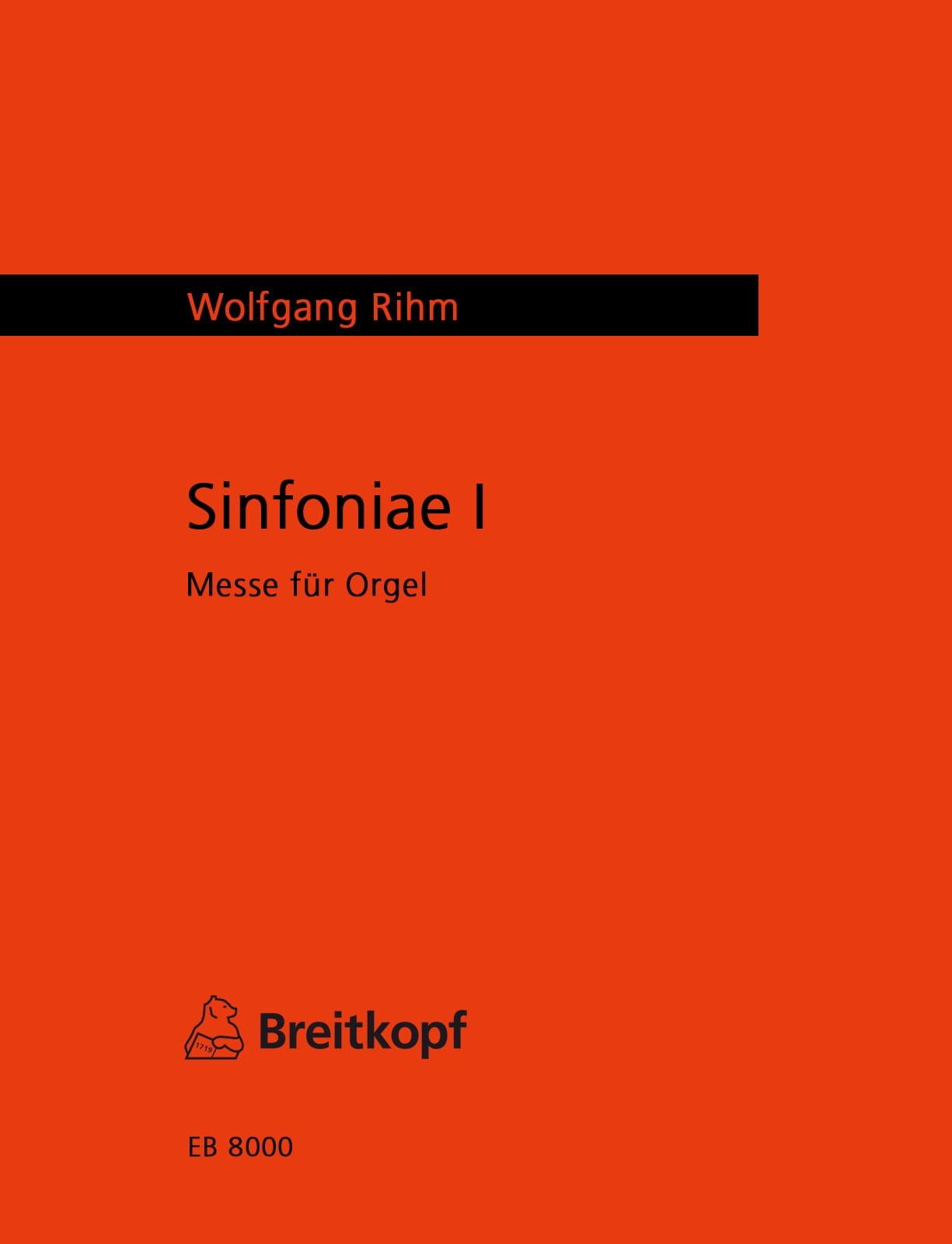 Sinfoniae I - Wolfgang Rihm - Partition - Orgue - laflutedepan.com