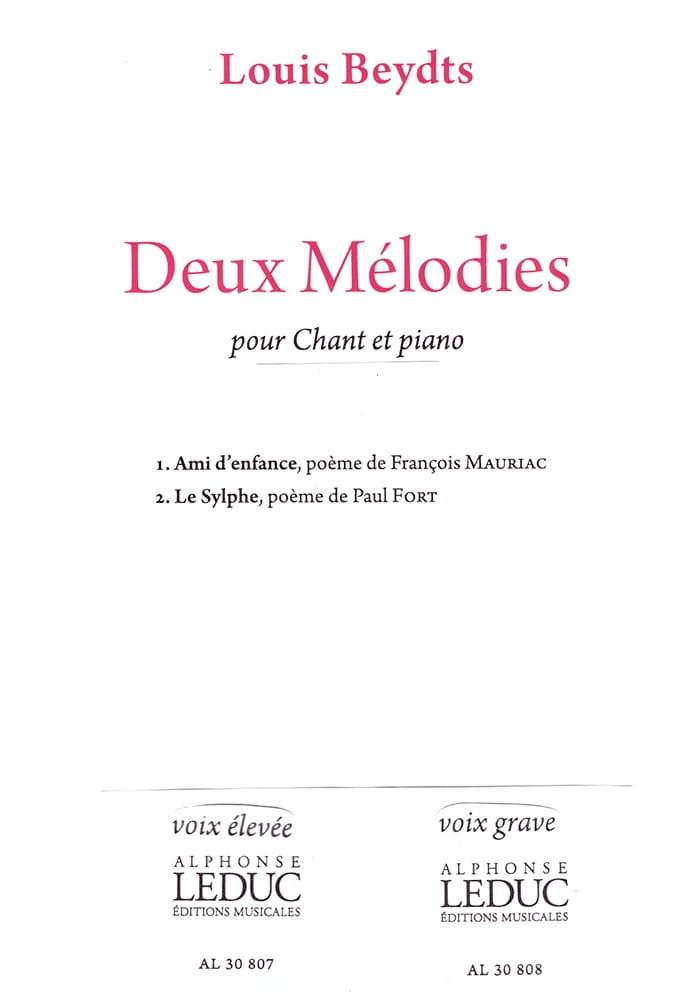 2 Mélodies. Voix Haute - Louis Beydts - Partition - laflutedepan.com