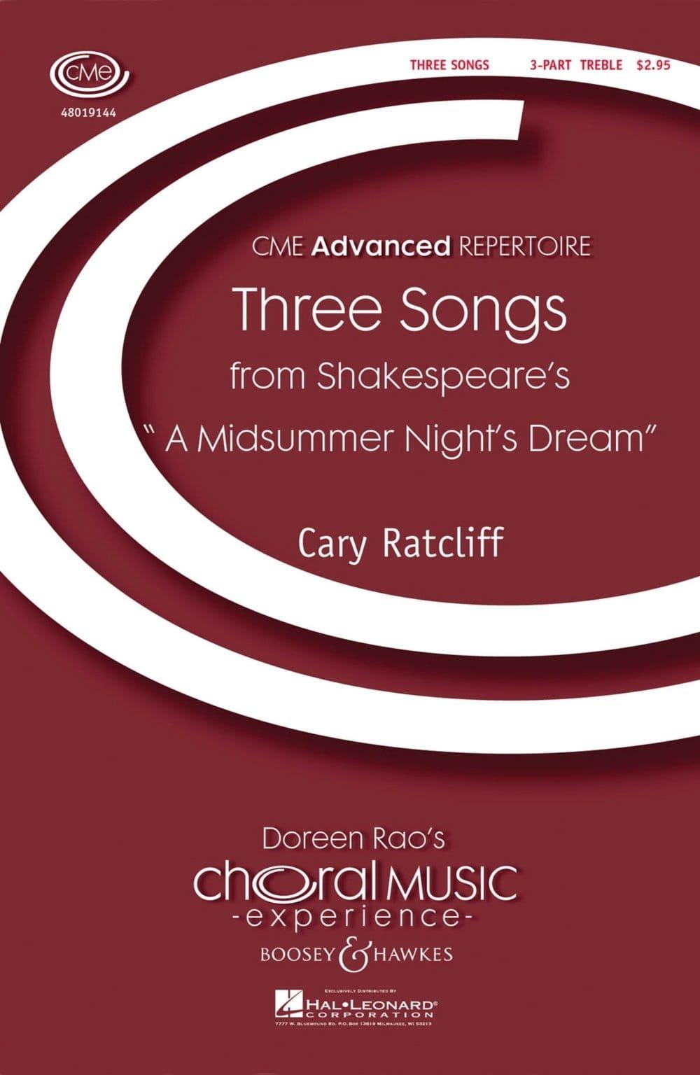 Three Songs (3) - Cary Ratcliff - Partition - Chœur - laflutedepan.com