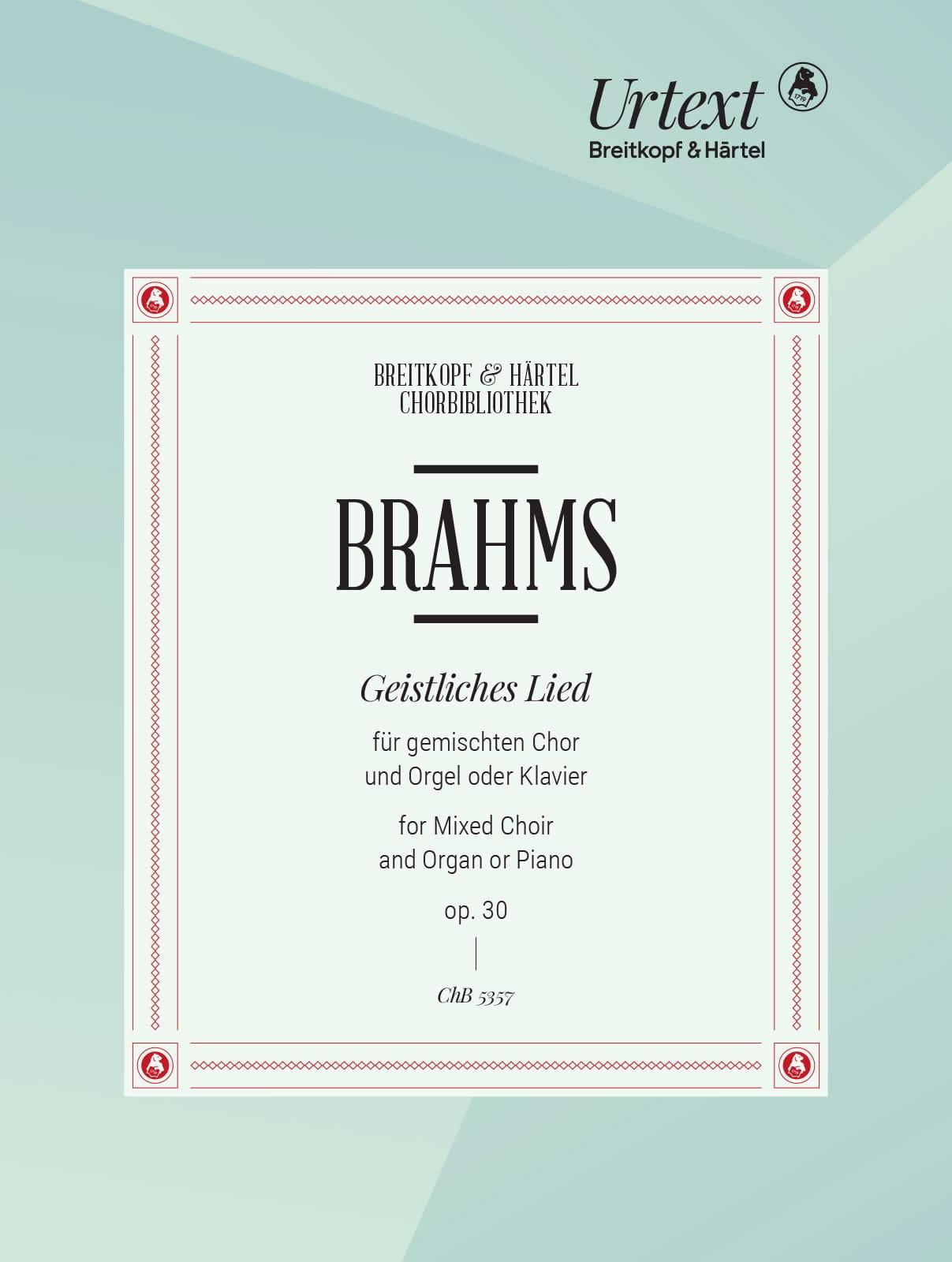Geistliches Lied Opus 30 - BRAHMS - Partition - laflutedepan.com