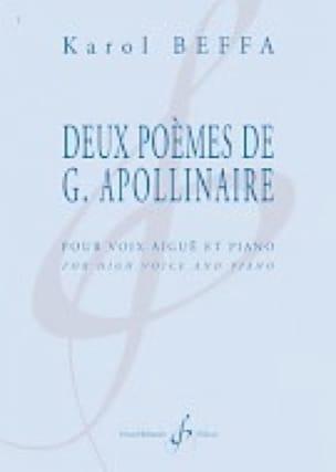 Karol Beffa - Two Poems by G. Apollinaire - Soprano - Partition - di-arezzo.co.uk