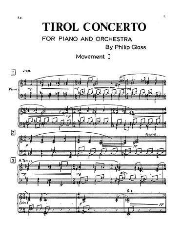 Philipp Glass - Tirol concerto - Soloist part - Partition - di-arezzo.co.uk