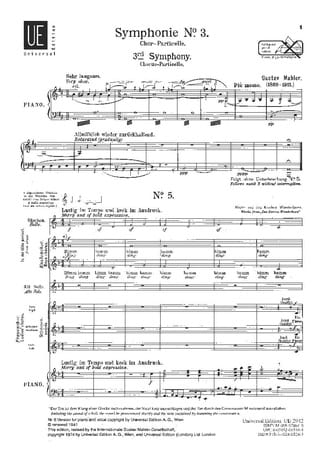 3° Symphonie. Choeur - Gustav Mahler - Partition - laflutedepan.com