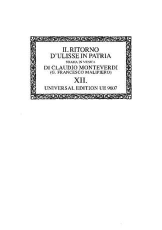 Il Ritorno D'ulisse In Patria. Oc12 - MONTEVERDI - laflutedepan.com
