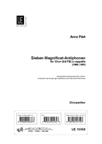 Arvo Pärt - 7 Magnificat-Antiphonen - Partition - di-arezzo.co.uk