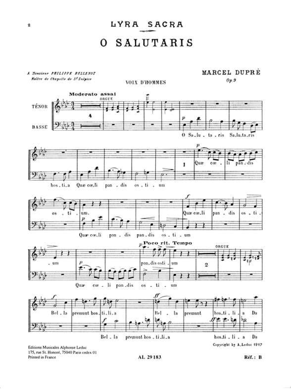 O Salutaris Op. 9-1. Voix Hommes - DUPRÉ - laflutedepan.com