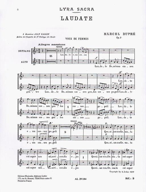 Laudate Opus 9-4. Voix Femmes - DUPRÉ - Partition - laflutedepan.com