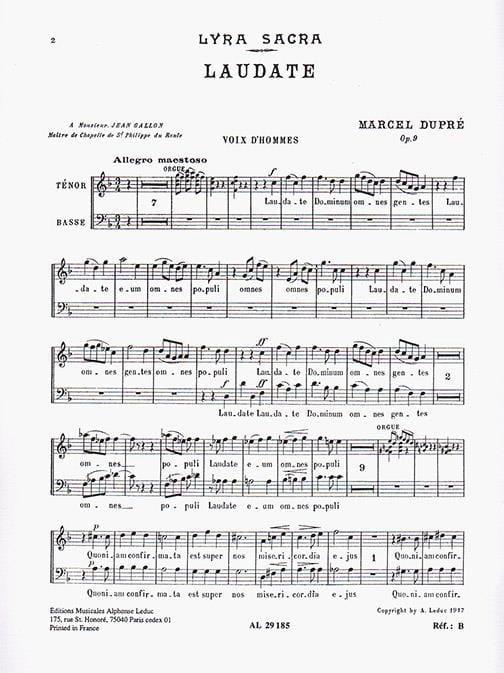 Laudate Opus 9-4. Voix Hommes - DUPRÉ - Partition - laflutedepan.com