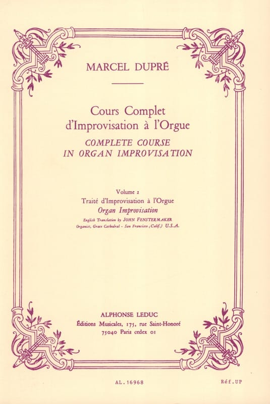 Marcel Dupré - Complete Course Of Improvisation In The Organ. Volume 2 - Partition - di-arezzo.co.uk