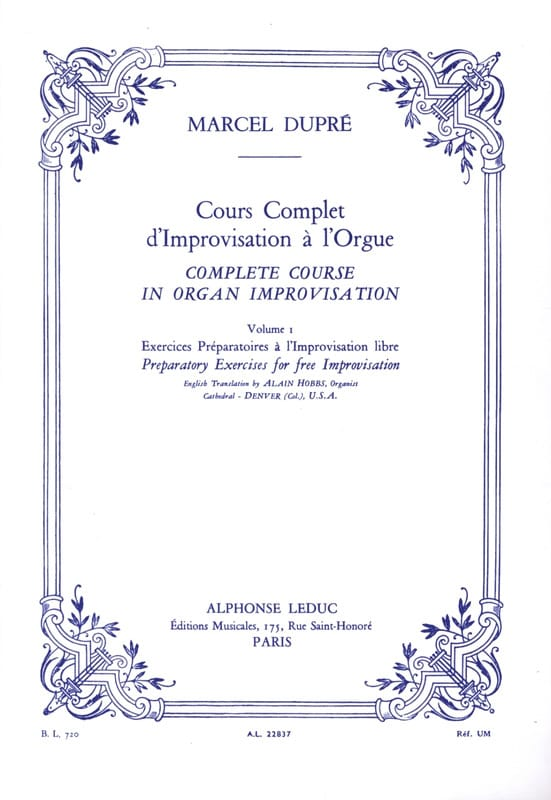 Marcel Dupré - Complete Course Of Improvisation In The Organ. Volume 1 - Partition - di-arezzo.co.uk
