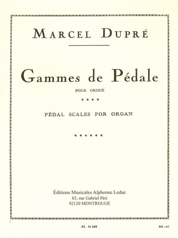 Marcel Dupré - Pedal Ranges - Partition - di-arezzo.co.uk