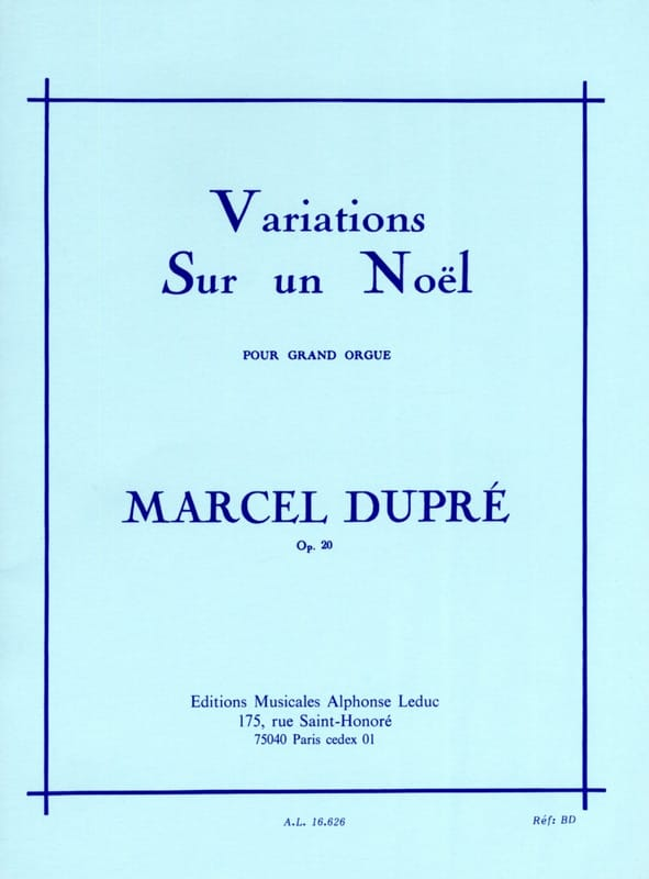 Marcel Dupré - Variations on a Christmas Opus 20 - Partition - di-arezzo.com
