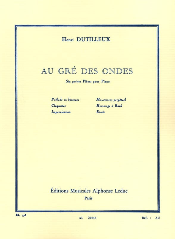 Henri Dutilleux - At the Waves - Partition - di-arezzo.co.uk