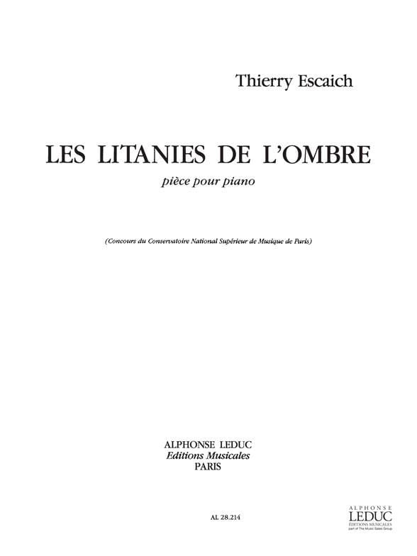 Thierry Escaich - Litanies of Shadow - Partition - di-arezzo.co.uk