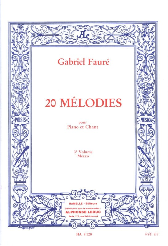 Gabriel Fauré - 20 Melodies Volume 3. Mezzo - Partition - di-arezzo.com