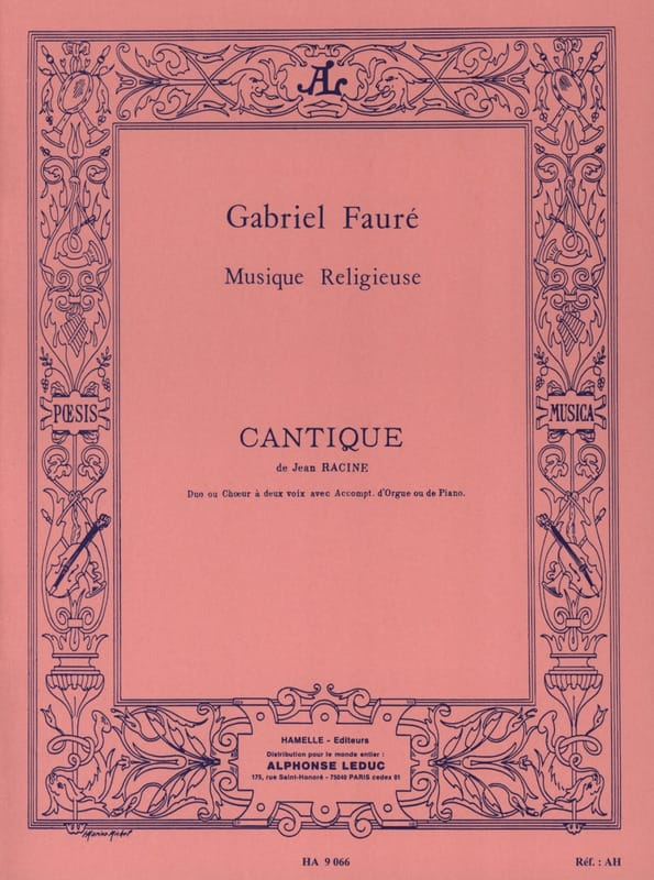 Cantique de Jean Racine Opus 11 2 Voix - FAURÉ - laflutedepan.com