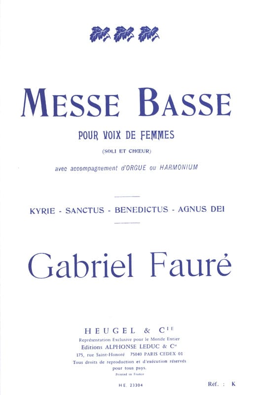Gabriel Fauré - Low Mass for women's voices - Partition - di-arezzo.com