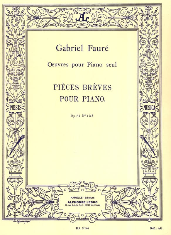 Gabriel Fauré - Short Parts Opus 84 - Partition - di-arezzo.co.uk