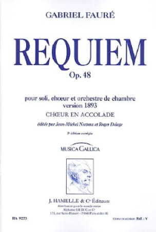 Gabriel Fauré - Requiem Opus 48 Version 1893. Single choir - Partition - di-arezzo.co.uk
