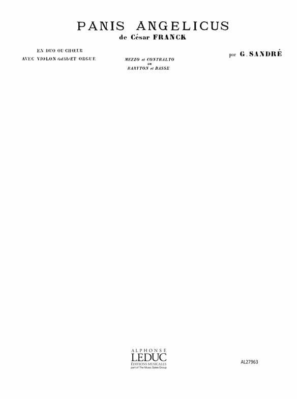 Panis Angelicus. Mezzo et Contralto - César Franck - laflutedepan.com