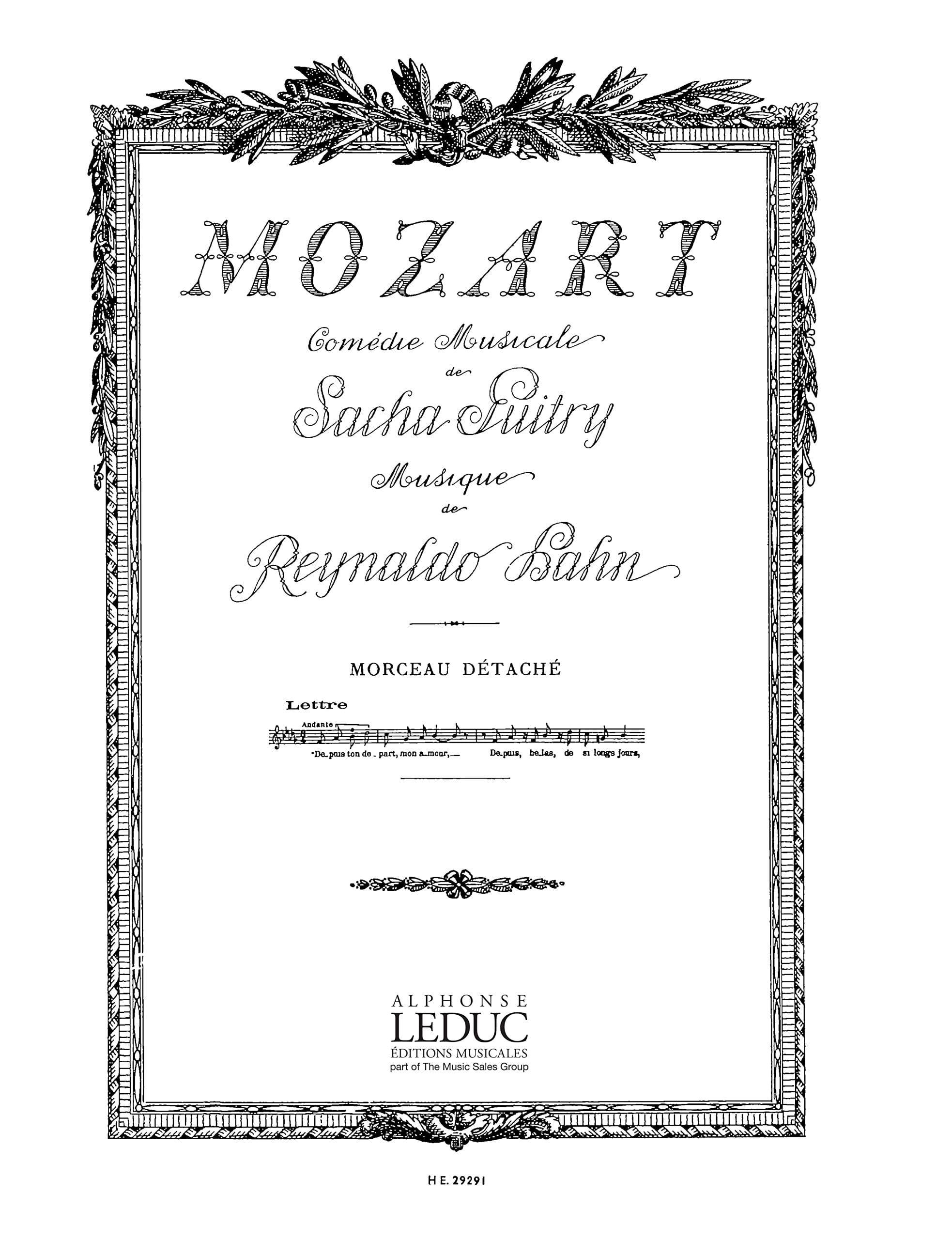 Reynaldo Hahn - Desde tu partida, mi amor. Mozart - Partition - di-arezzo.es