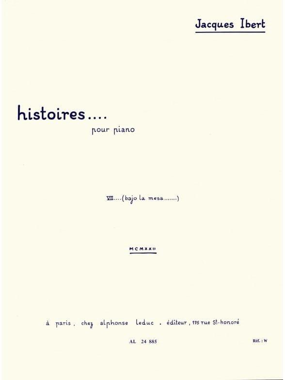 Jacques Ibert - Bajo la mesa - Partition - di-arezzo.fr