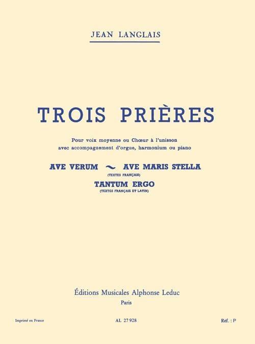 3 Prières - Jean Langlais - Partition - Mélodies - laflutedepan.com